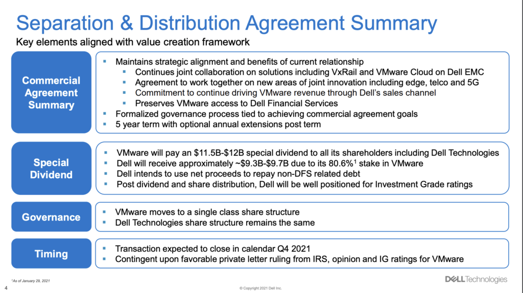 Dell Formally Announces Spin Off of VMware Set for Q4