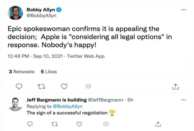 Epic spokeswoman tweet